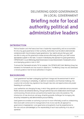 Delivering good governance in local government Briefing note for local authority leaders